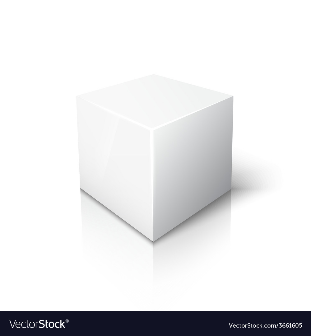 White cube on white background with reflection vector | Price: 1 Credit (USD $1)