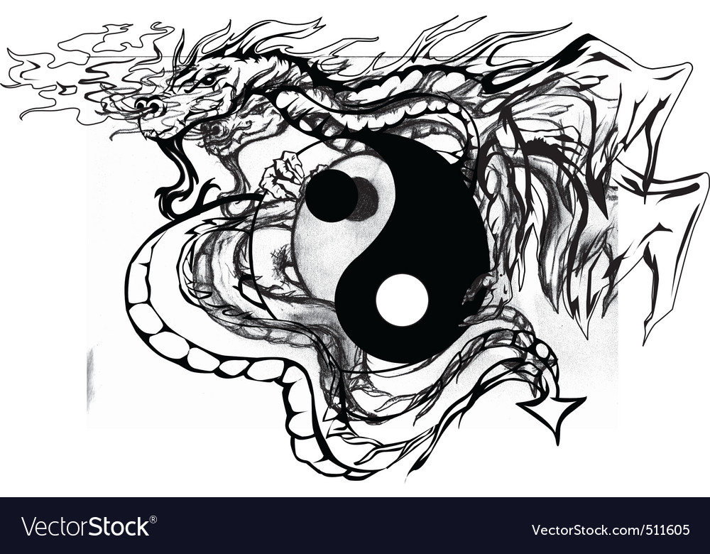 Yinyang dragon vector | Price: 1 Credit (USD $1)