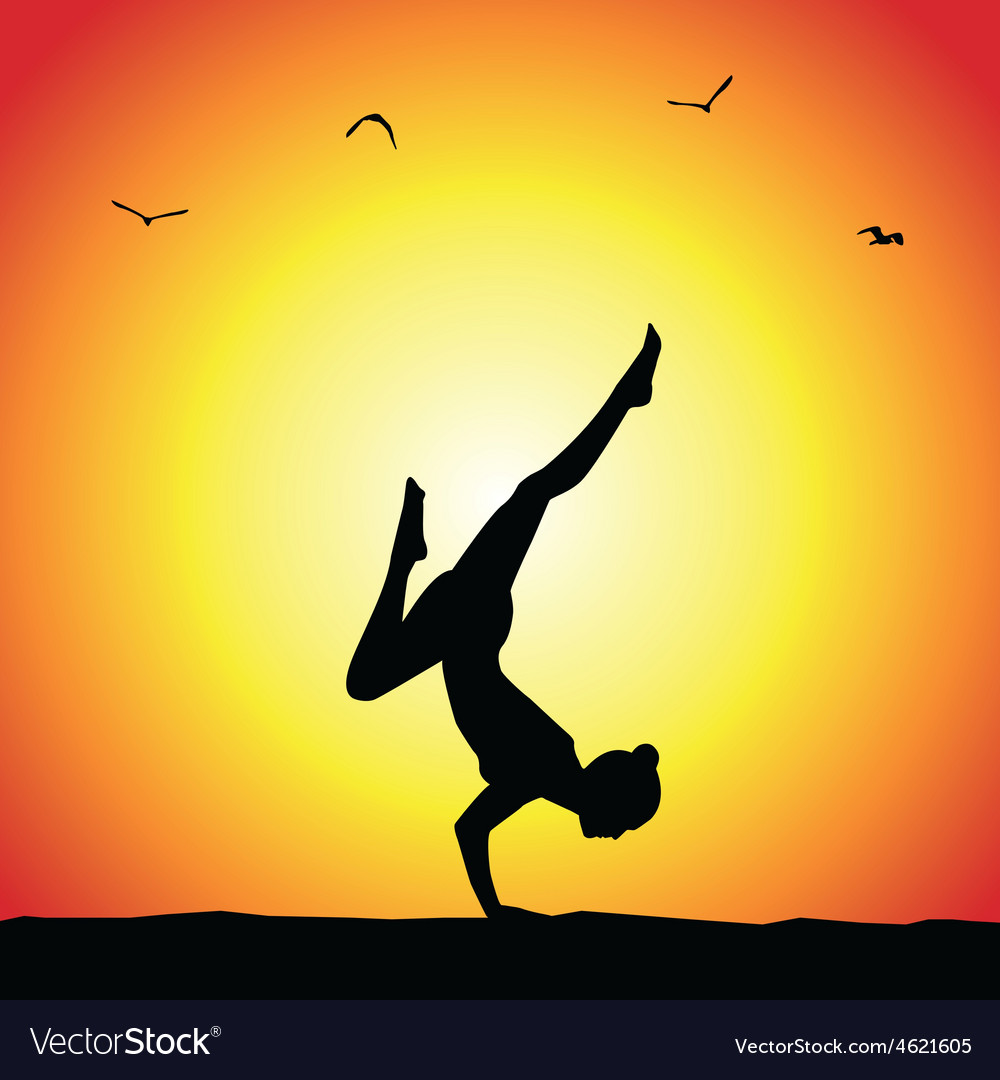 Yoga pose silhouette vector   Price: 1 Credit (USD $1)