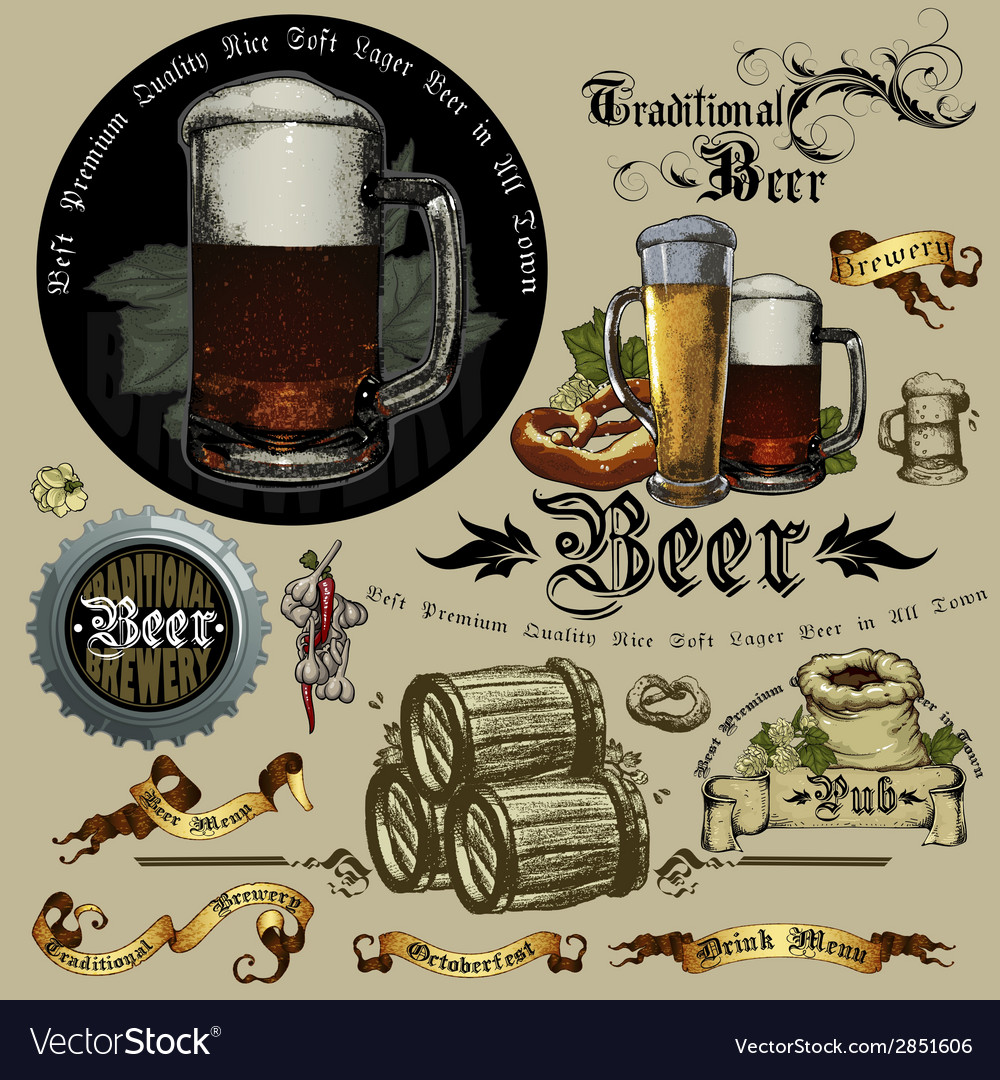 Beer design elements rgb vector | Price: 1 Credit (USD $1)