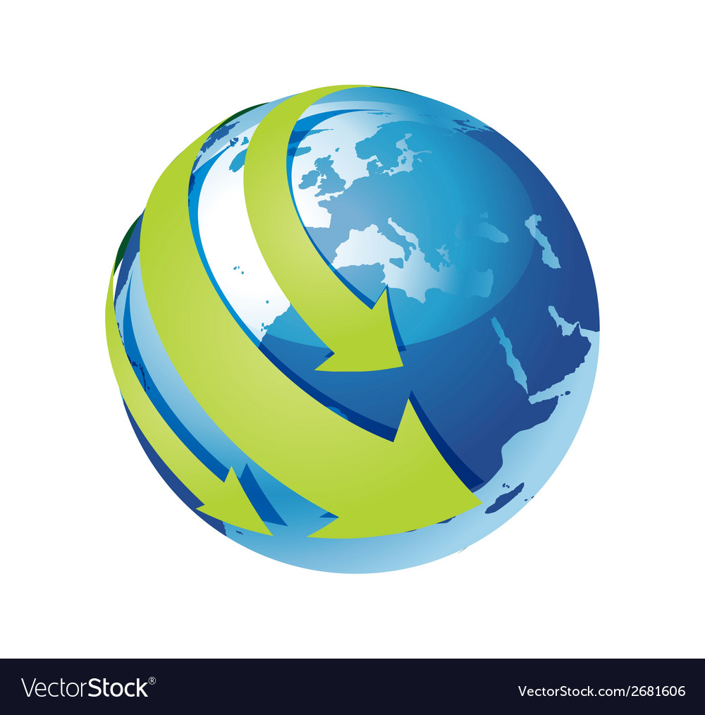 Blue earth and green arrow around vector | Price: 1 Credit (USD $1)