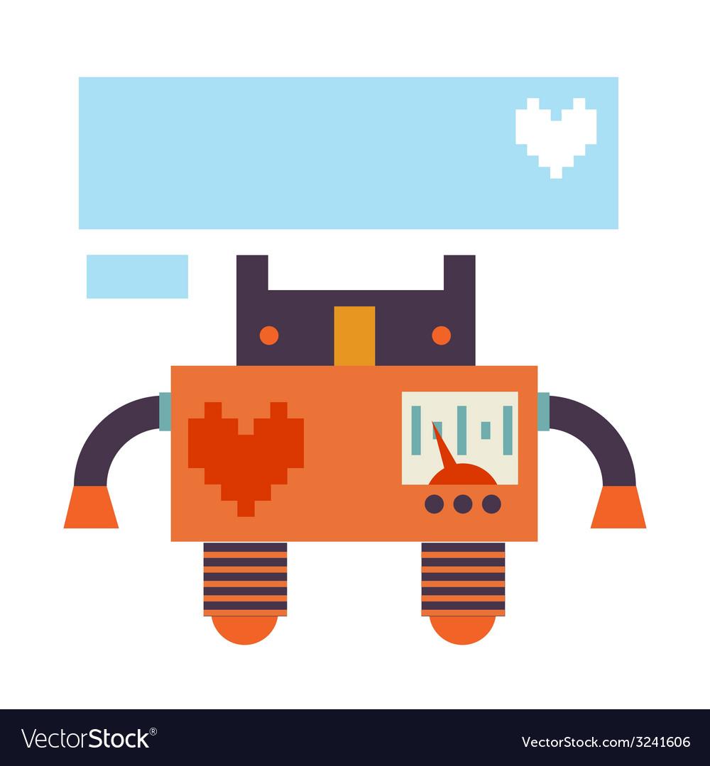 Card design with retro robot vector | Price: 1 Credit (USD $1)