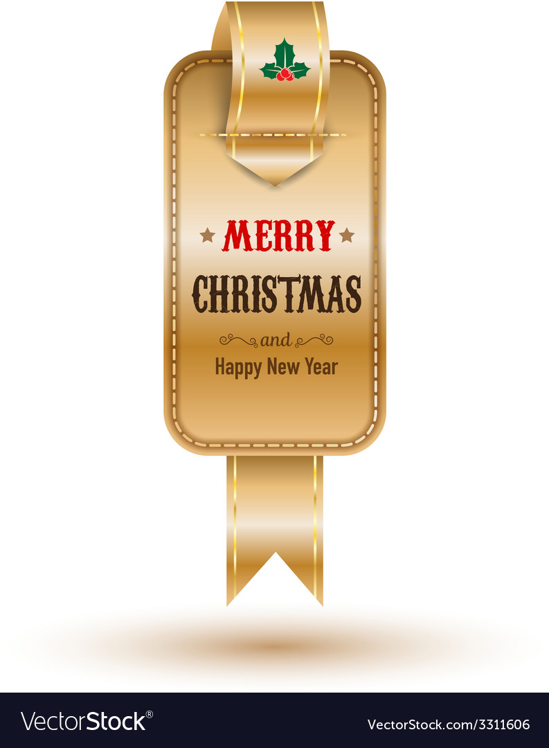 Christmas gold tag vector | Price: 1 Credit (USD $1)