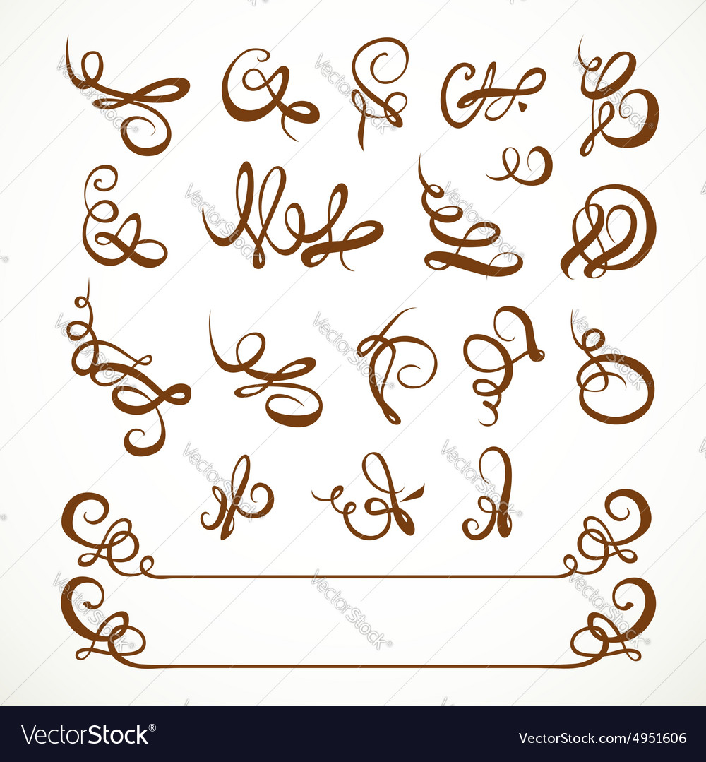 Decorative calligraphic flourishes on a white vector