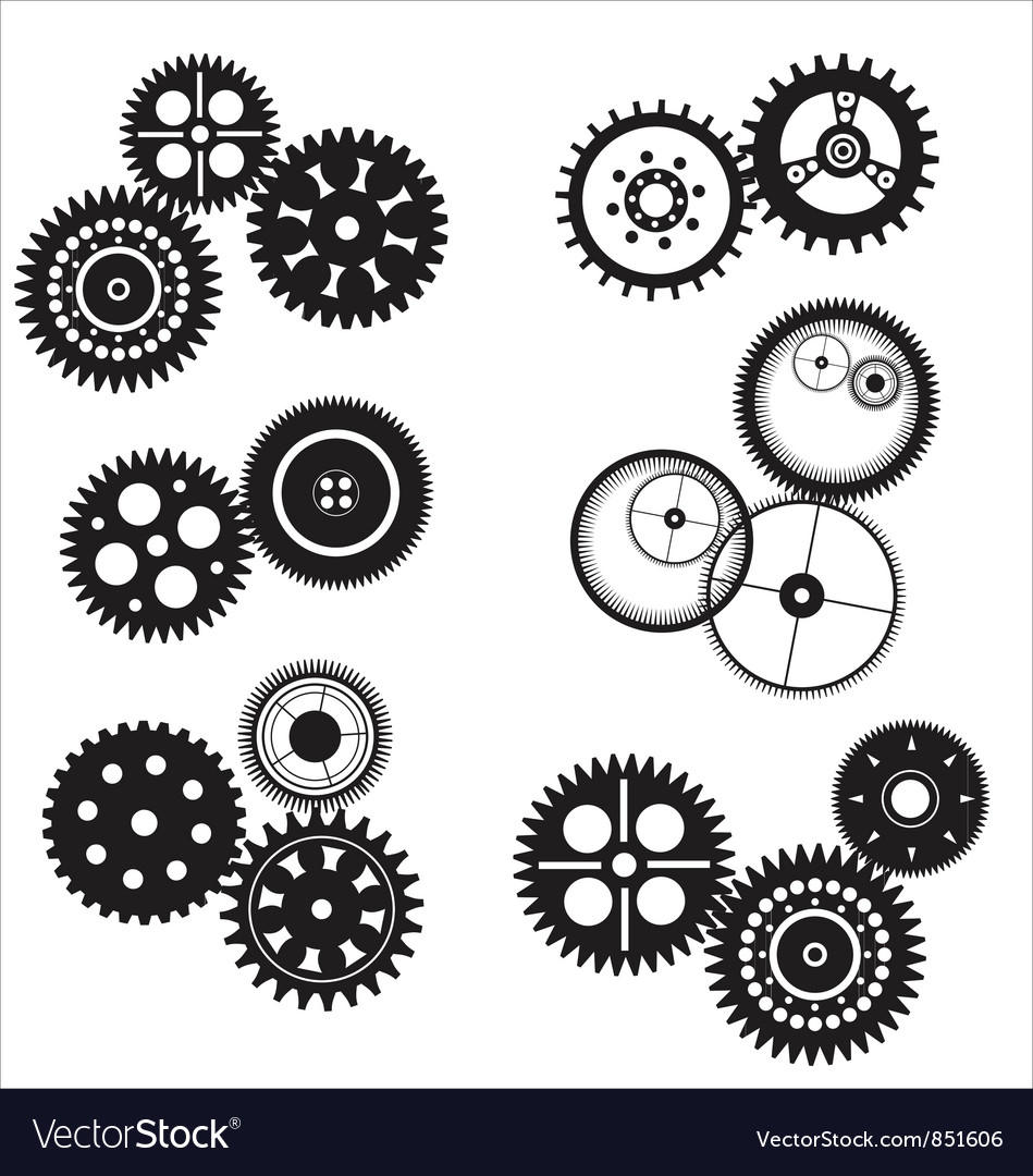 Gear and cogwheel set vector | Price: 1 Credit (USD $1)