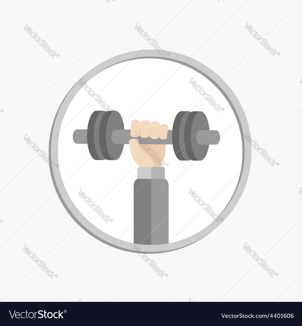 Hand holding dumbell round icon sport fitness vector | Price: 1 Credit (USD $1)