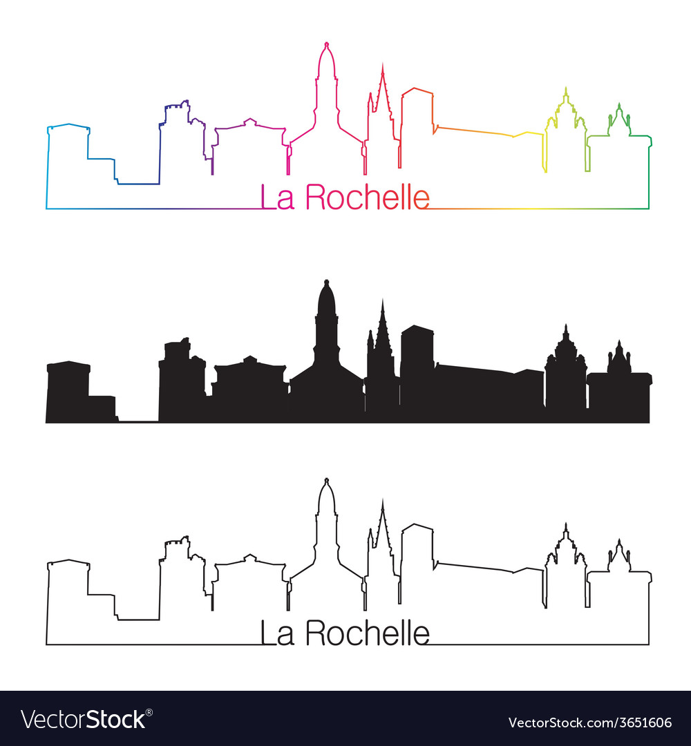 La rochelle skyline linear style with rainbow vector | Price: 1 Credit (USD $1)