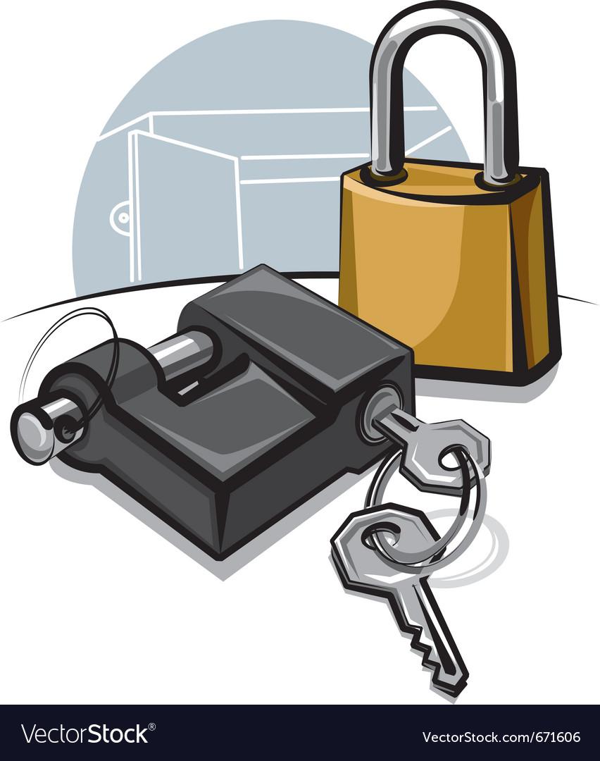 Padlocks with keys vector | Price: 3 Credit (USD $3)