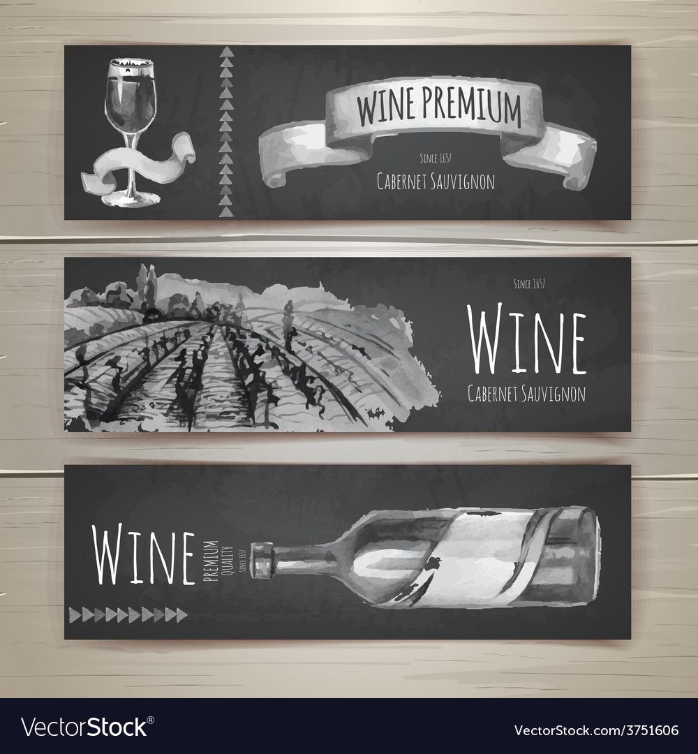 Set of art wine banners and labels design vector | Price: 1 Credit (USD $1)
