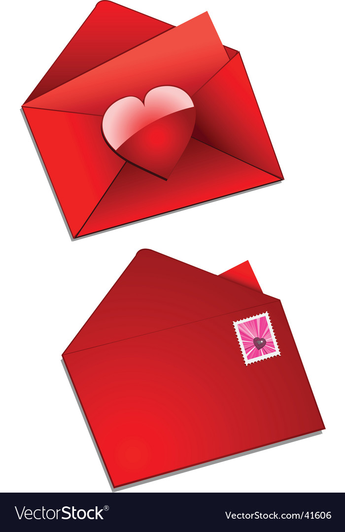Valentine envelope and stamp vector