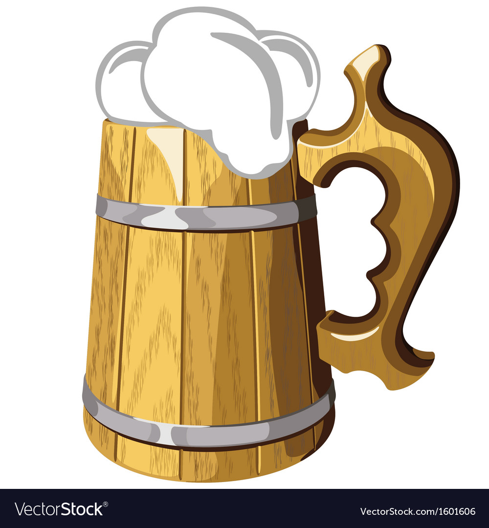 Wooden beer mug no mash no gradient vector | Price: 1 Credit (USD $1)