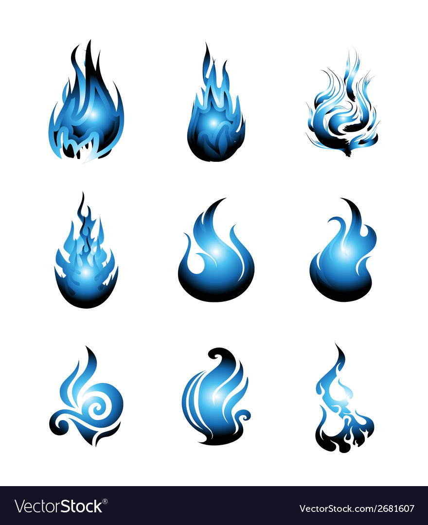 Blue fire symbol icon set vector | Price: 1 Credit (USD $1)