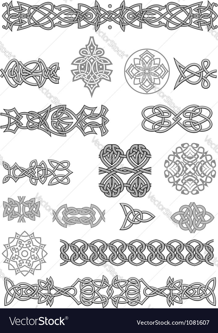 Celtic ornaments and patterns set for embellish vector | Price: 1 Credit (USD $1)