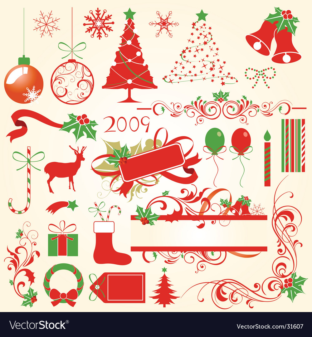 Christmas decoration elements vector | Price: 1 Credit (USD $1)