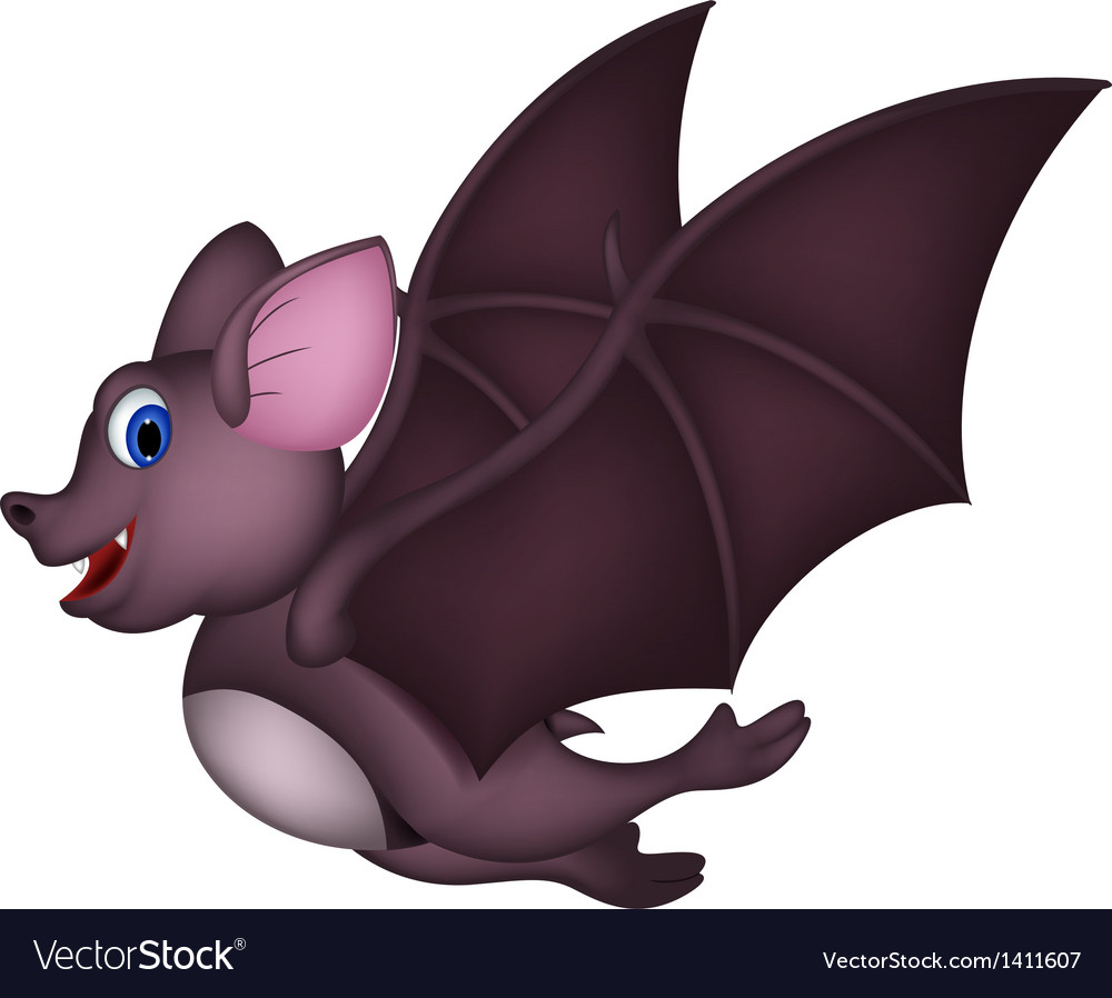 Cute cartoon bat flying vector | Price: 1 Credit (USD $1)