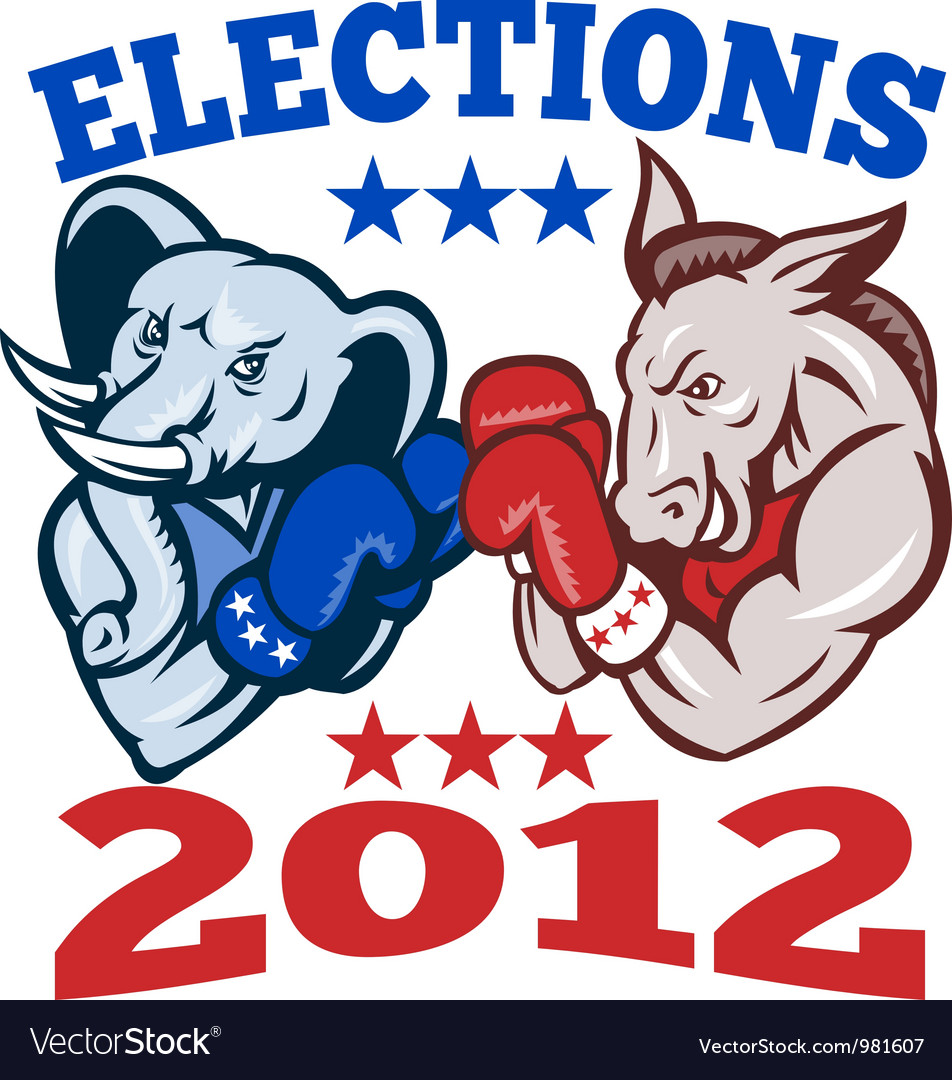 Democrat donkey republican elephant mascot 2012 vector | Price: 3 Credit (USD $3)