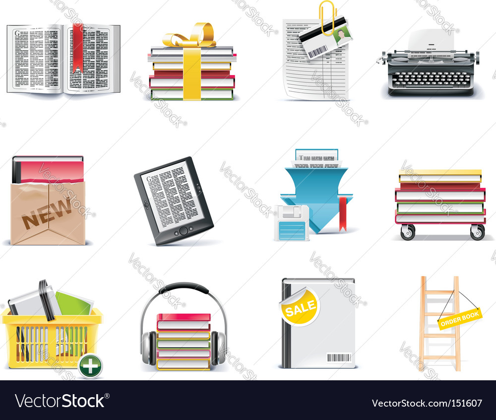 Library icons vector | Price: 3 Credit (USD $3)