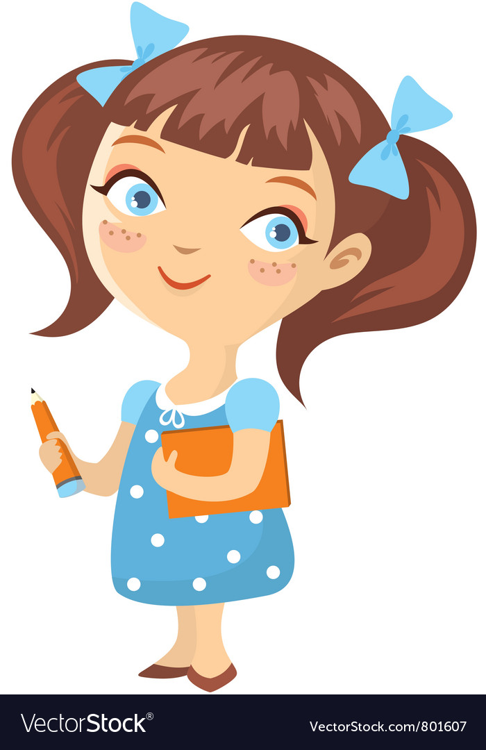 Little schoolgirl isolated vector | Price: 1 Credit (USD $1)