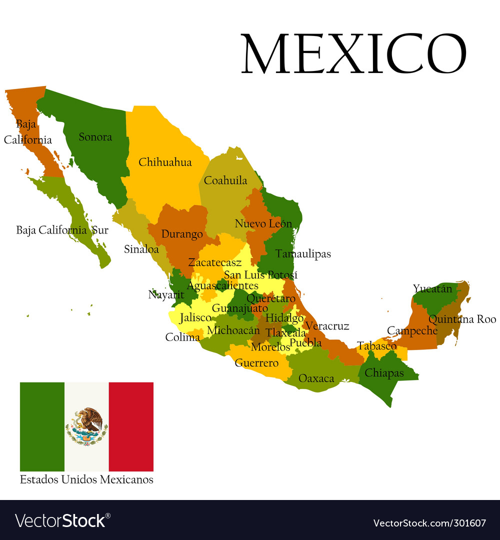 Map of mexico and flag vector | Price: 1 Credit (USD $1)