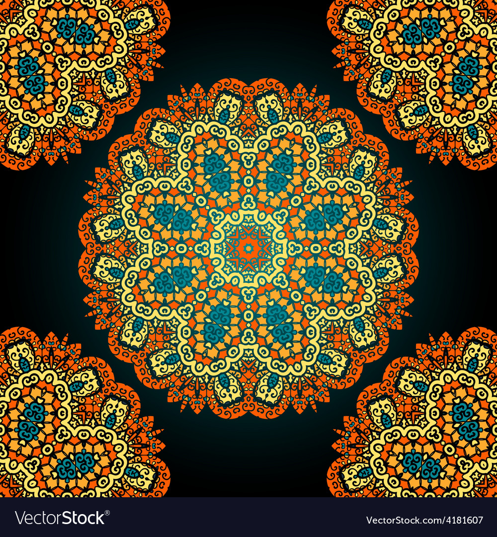 Seamless mandala over black background vitage vector | Price: 1 Credit (USD $1)