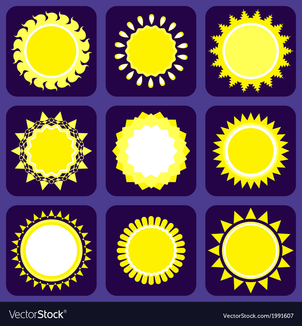 Set of nine icons with sun vector | Price: 1 Credit (USD $1)