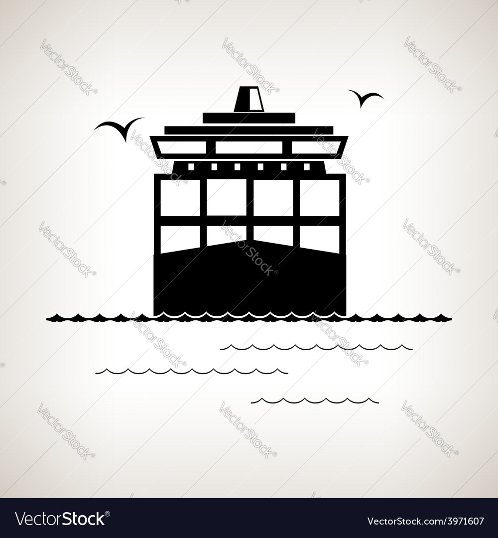 Silhouette cargo container ship vector | Price: 1 Credit (USD $1)