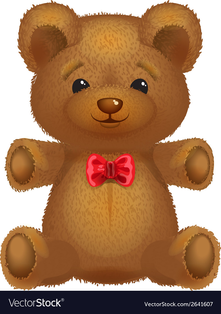 Teddy bear brown with a red bow vector | Price: 1 Credit (USD $1)