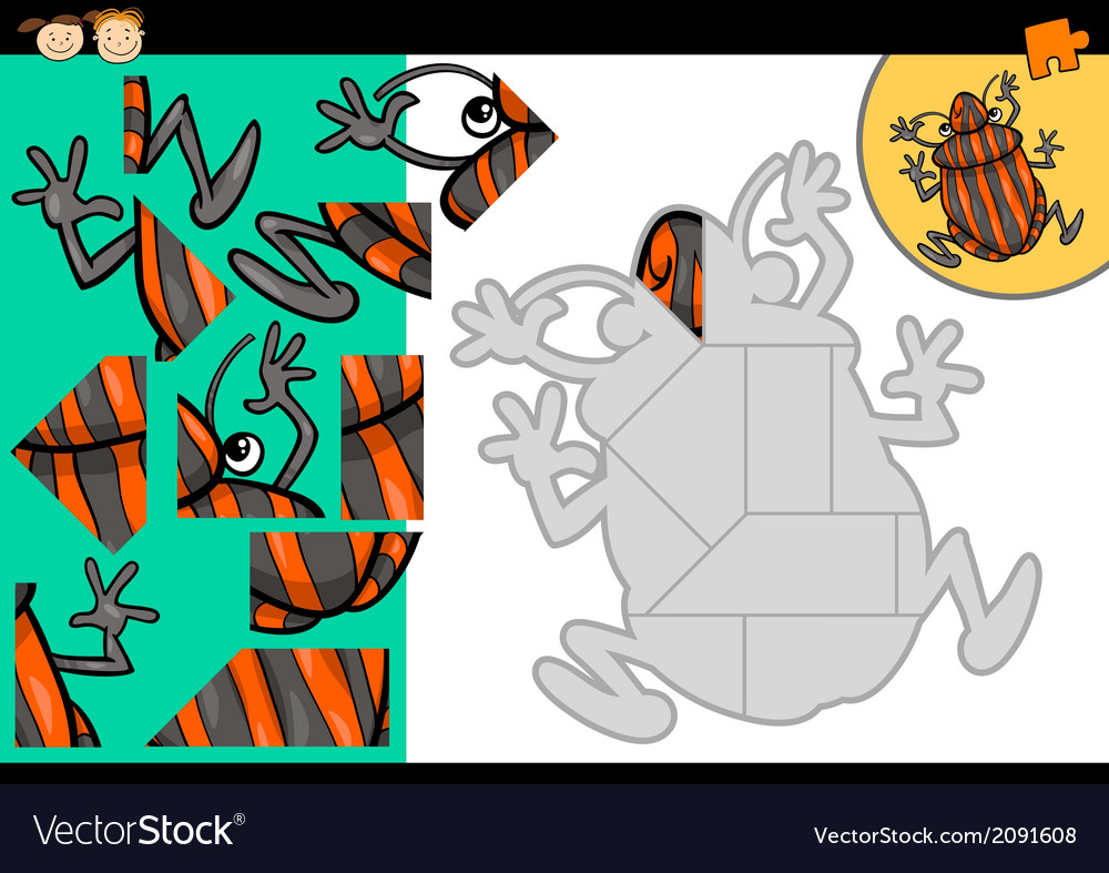 Cartoon shield bug jigsaw puzzle game vector | Price: 1 Credit (USD $1)