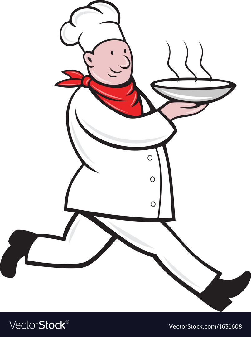 Chef cook running serving hot soup bowl vector | Price: 1 Credit (USD $1)