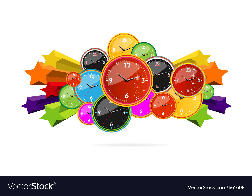 Colored and creative clocks vector | Price: 1 Credit (USD $1)
