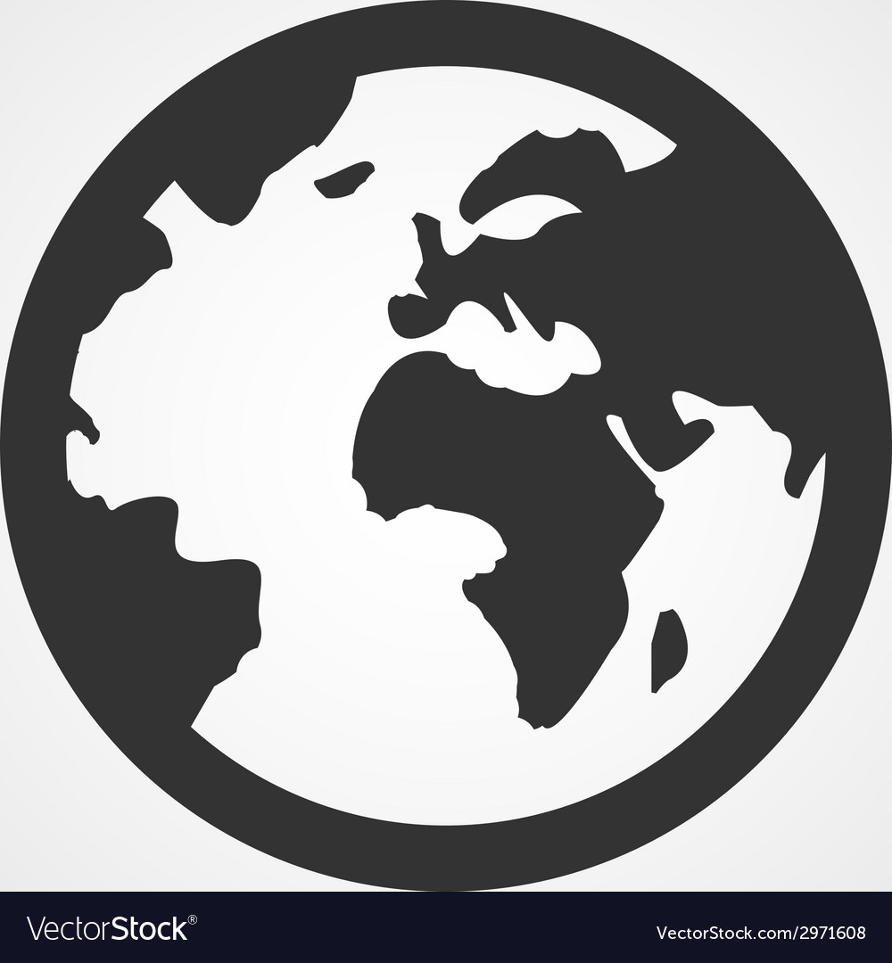 Earth globe icon flat design vector | Price: 1 Credit (USD $1)