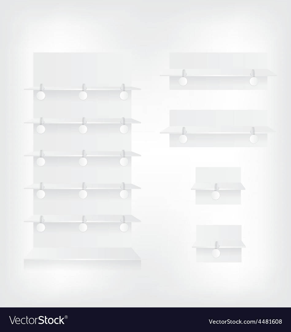 Empty white shop shelves and wobbler vector | Price: 1 Credit (USD $1)