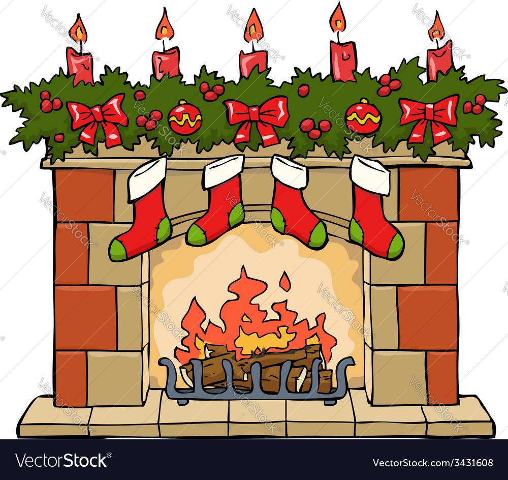 Fireplace xmas vector