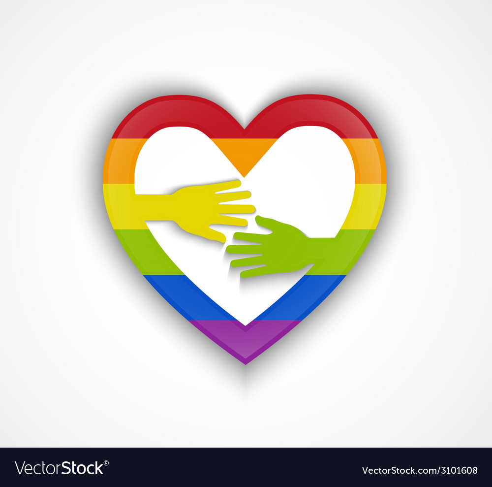 Heart shape with gay flag and two hands vector | Price: 1 Credit (USD $1)