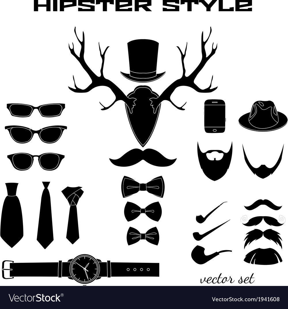 Hipster accessory pictograms collection vector | Price: 1 Credit (USD $1)