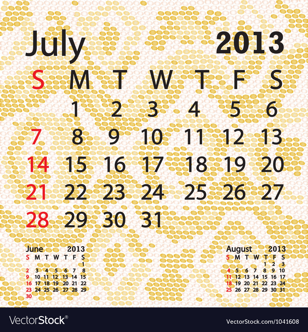 July 2013 calendar albino snake skin vector | Price: 1 Credit (USD $1)