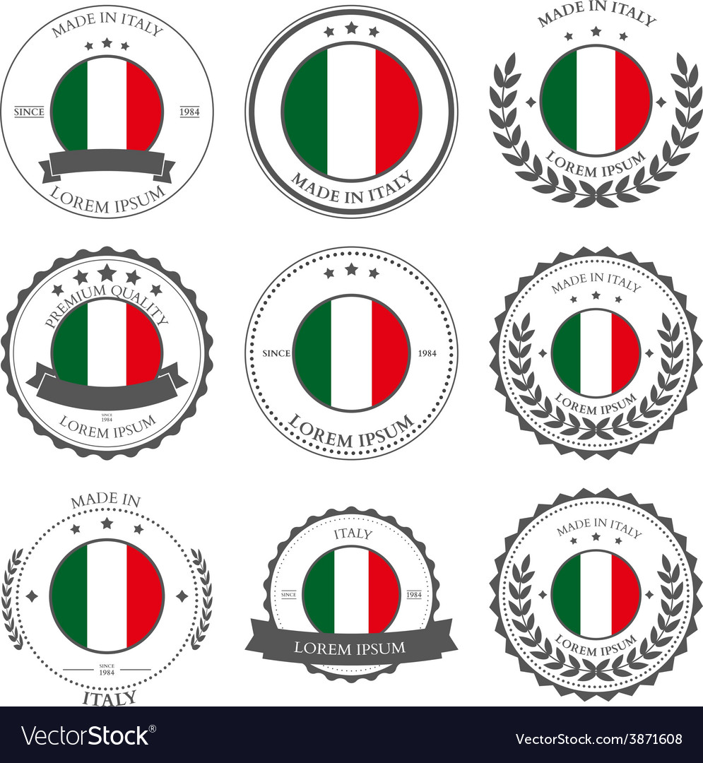 Made in italy seals badges vector