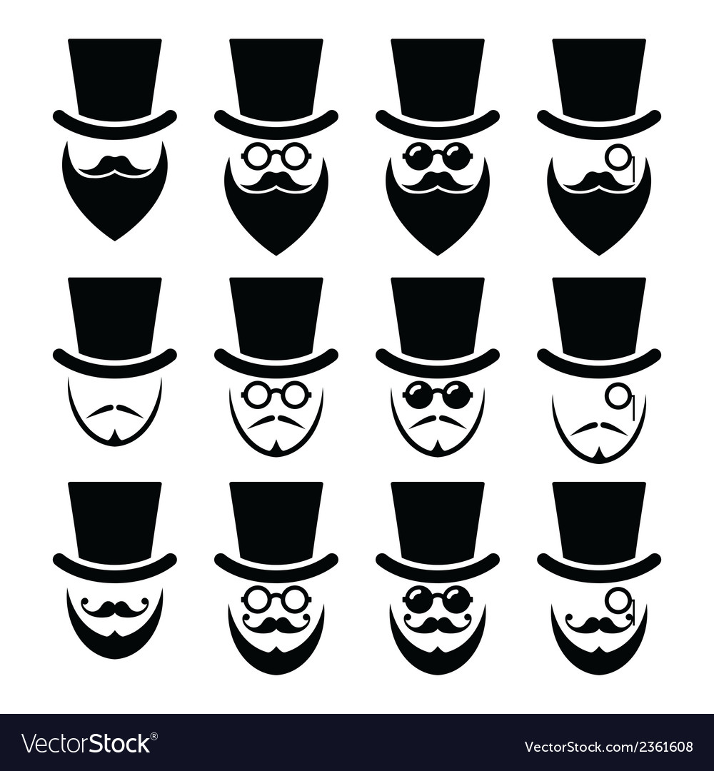 Man with hat with beard and glasses icons set vector | Price: 1 Credit (USD $1)