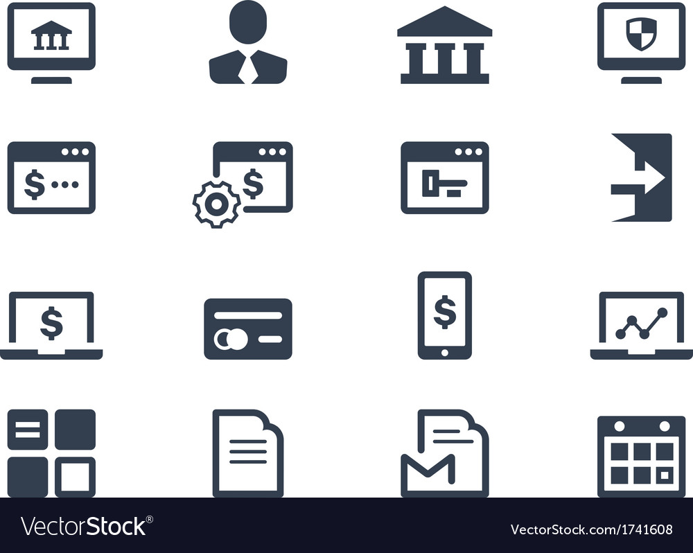 Online banking icons vector | Price: 1 Credit (USD $1)