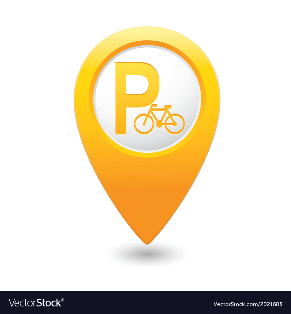 Parking bicycle symbol map pointer yellow vector | Price: 1 Credit (USD $1)
