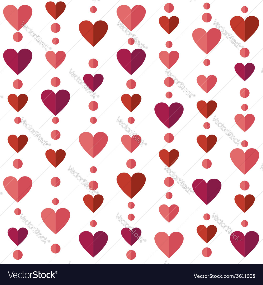 Seamless pattern with flat hearts vector | Price: 1 Credit (USD $1)