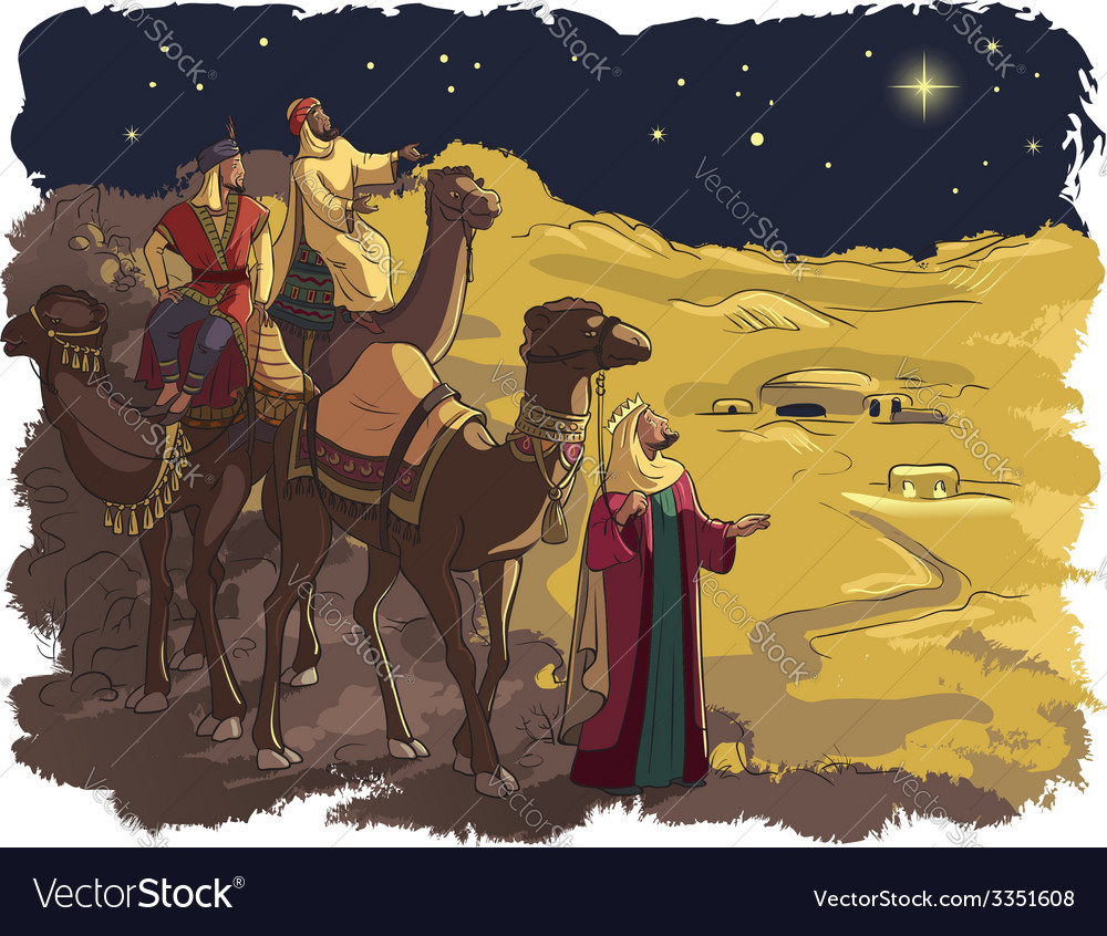 Three wise men following the star of bethlehem vector | Price: 5 Credit (USD $5)