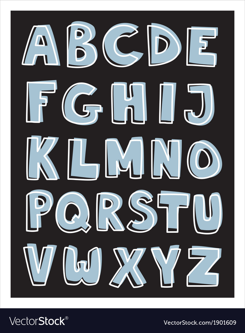 Alphabet letters hand drawn set isolated on black vector | Price: 1 Credit (USD $1)