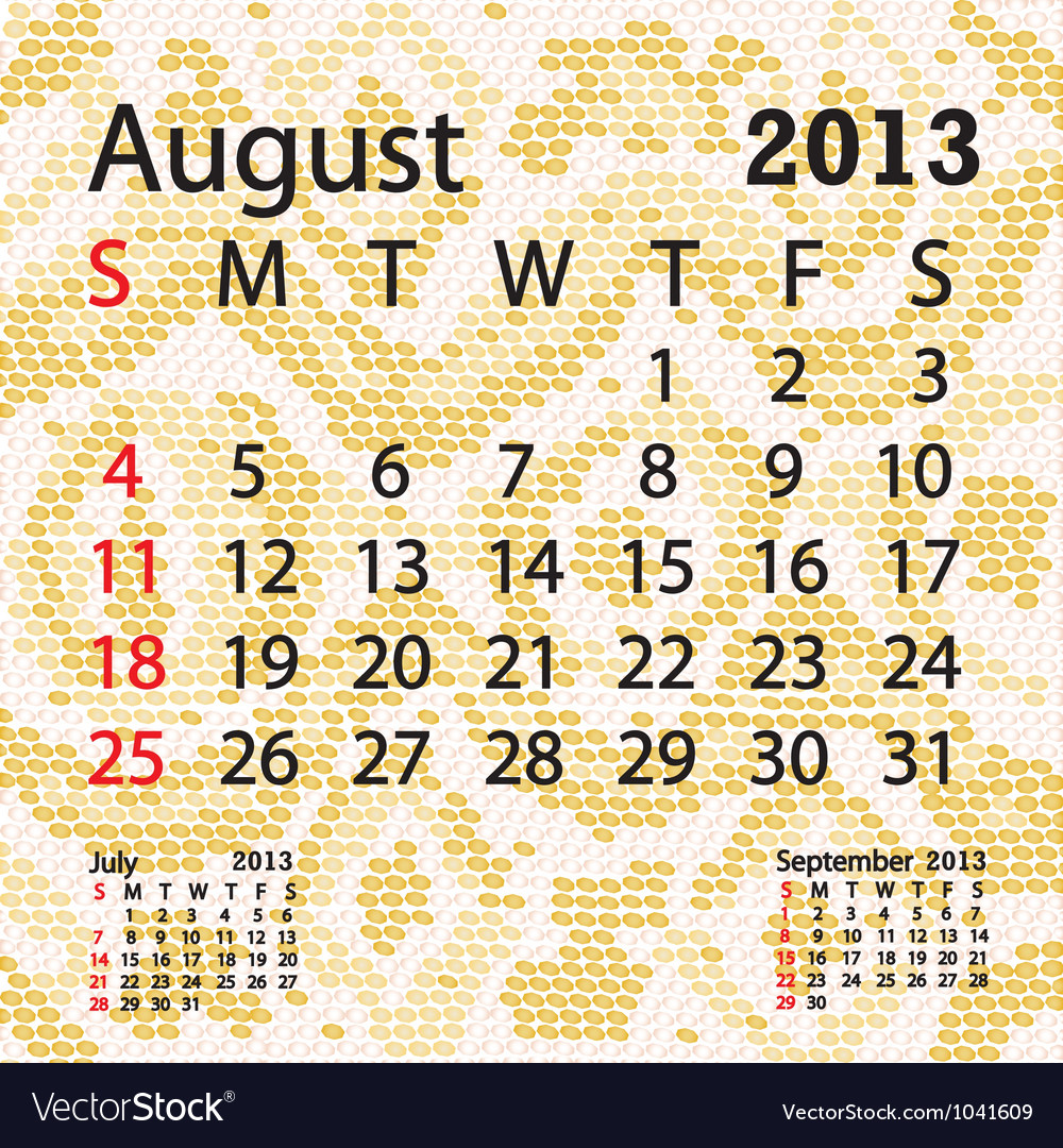 August 2013 calendar albino snake skin vector | Price: 1 Credit (USD $1)