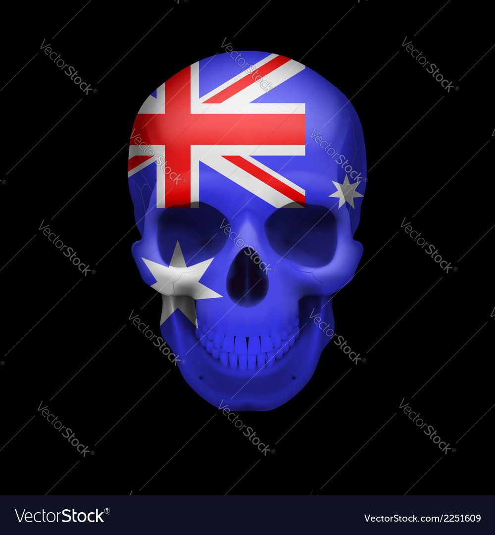 Australian flag skull vector | Price: 1 Credit (USD $1)