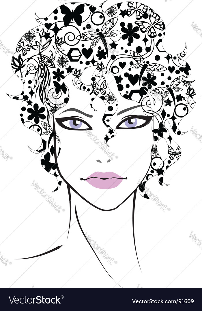 Beautiful girl with flower hair vector | Price: 1 Credit (USD $1)