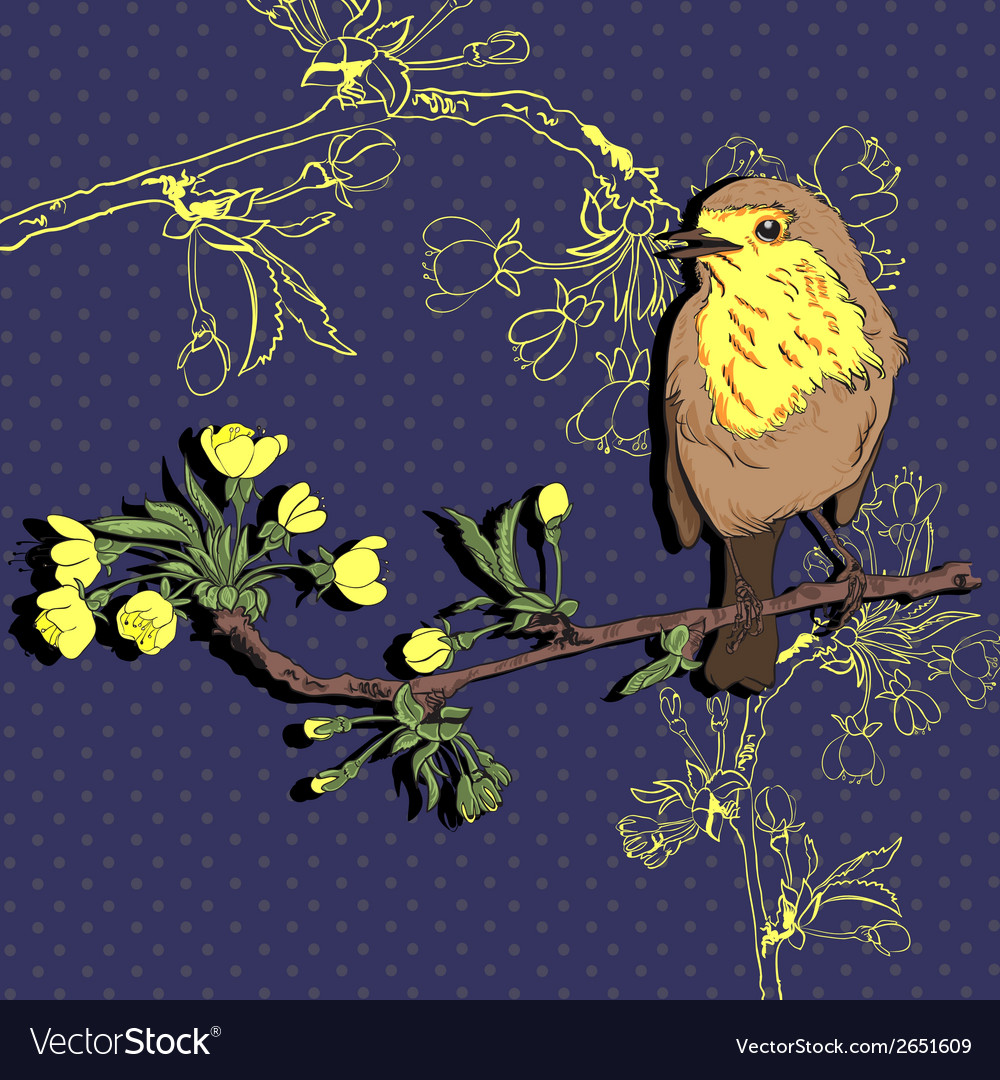 Bird on the branch of cherry vector | Price: 1 Credit (USD $1)