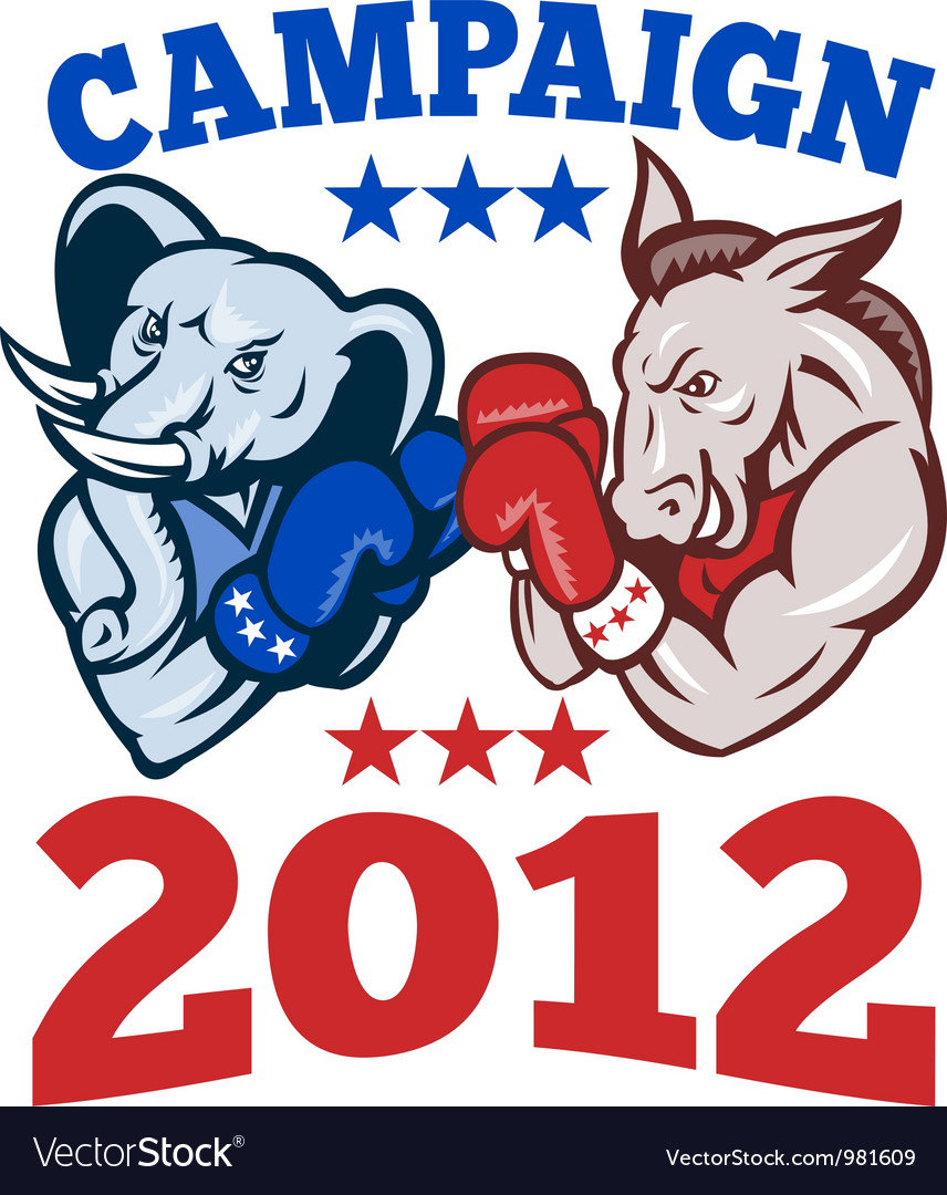 Elephant donkey rep demo txt campaign 2012 eps10 vector | Price: 1 Credit (USD $1)