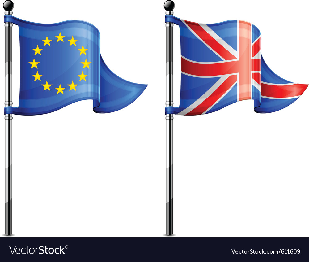 Euro britain triangle flag vector | Price: 1 Credit (USD $1)