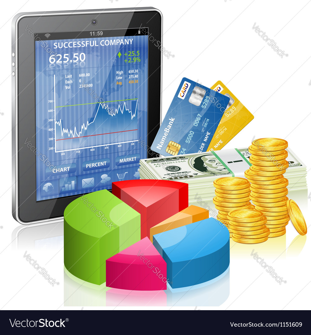 Financial concept - make money on the internet vector | Price: 1 Credit (USD $1)